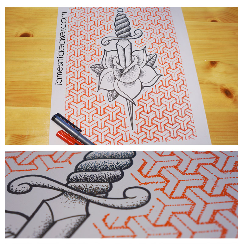 Traditional Dagger & geometric Y Pattern